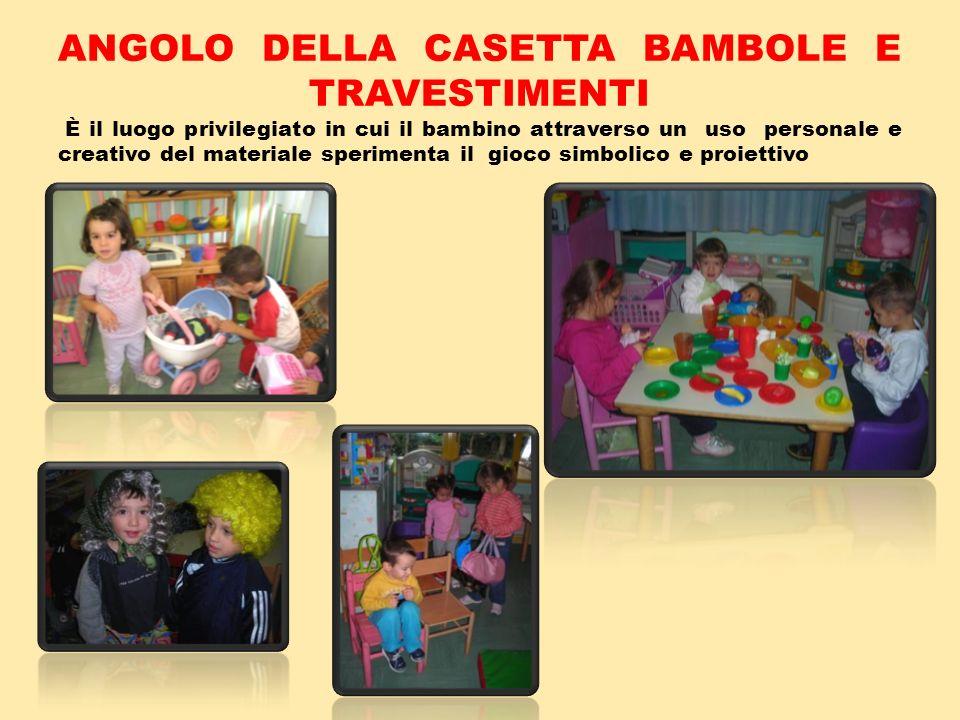 ANGOLO DELLA CASETTA BAMBOLE E TRAVESTIMENTI È il luogo privilegiato in cui il bambino attraverso un uso personale e creativo del materiale sperimenta