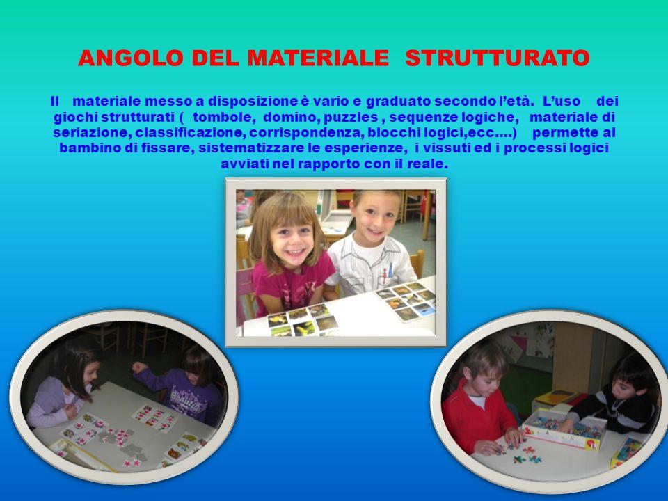 ANGOLO DEL MATERIALE STRUTTURATO Il materiale messo a disposizione è vario e graduato secondo letà. Luso dei giochi strutturati ( tombole, domino, puz