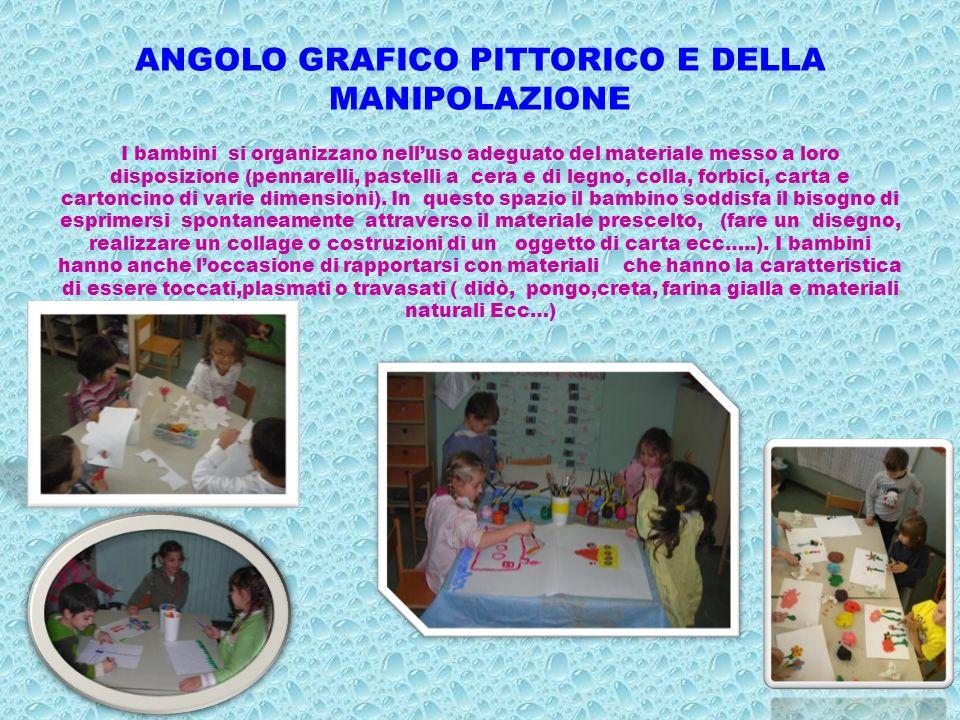 ANGOLO GRAFICO PITTORICO E DELLA MANIPOLAZIONE I bambini si organizzano nelluso adeguato del materiale messo a loro disposizione (pennarelli, pastelli