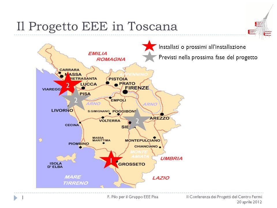 Il Progetto EEE in Toscana II Conferenza dei Progetti del Centro Fermi 20 aprile 2012 F. Pilo per il Gruppo EEE Pisa 1 2 1 2 Installati o prossimi all