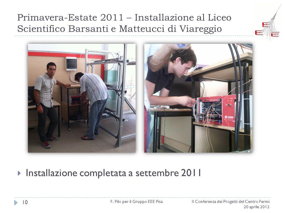 Primavera-Estate 2011 – Installazione al Liceo Scientifico Barsanti e Matteucci di Viareggio II Conferenza dei Progetti del Centro Fermi 20 aprile 201