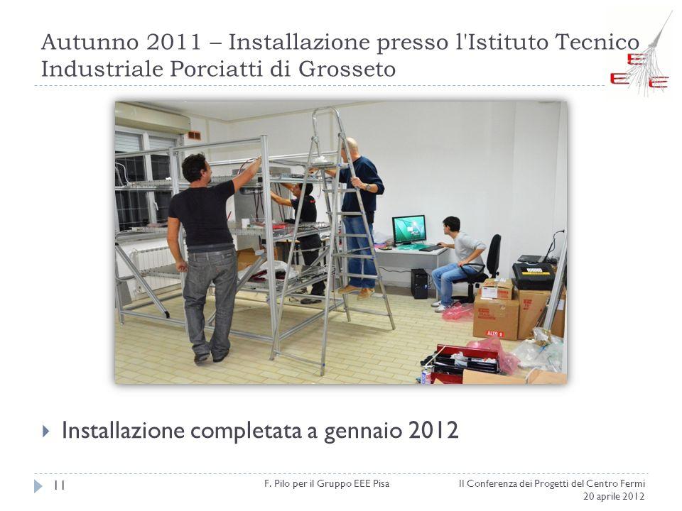 Autunno 2011 – Installazione presso l'Istituto Tecnico Industriale Porciatti di Grosseto II Conferenza dei Progetti del Centro Fermi 20 aprile 2012 F.