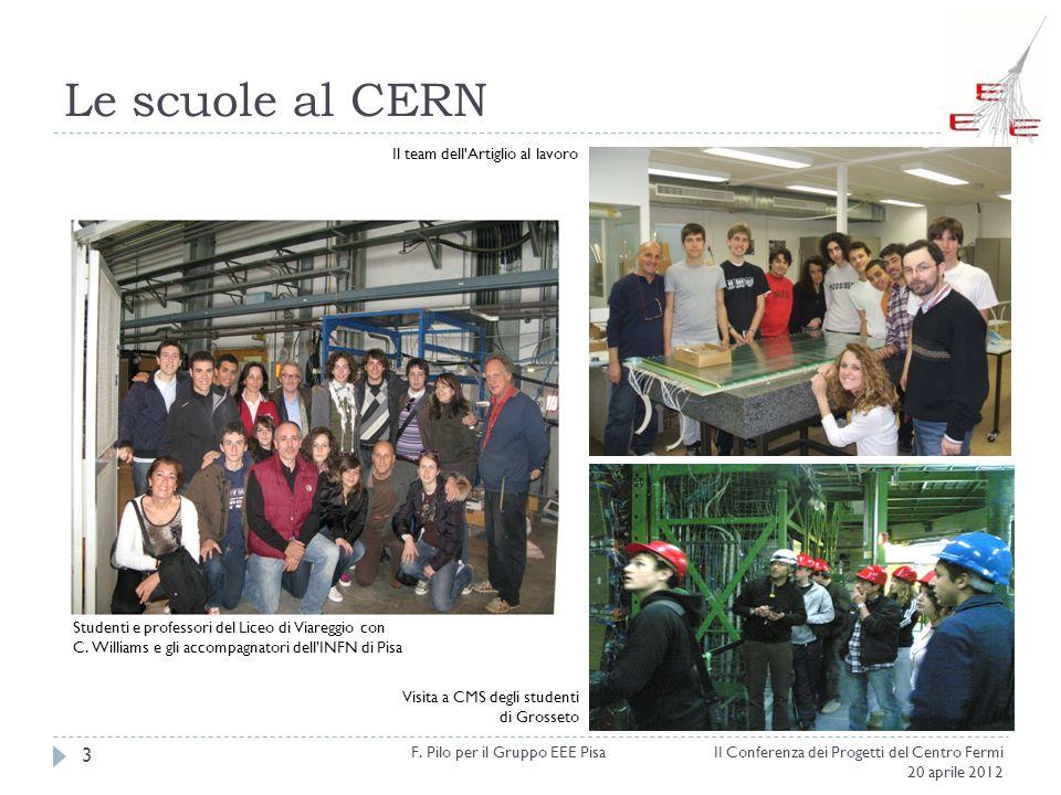 Le scuole al CERN II Conferenza dei Progetti del Centro Fermi 20 aprile 2012 F. Pilo per il Gruppo EEE Pisa 3 Il team dell'Artiglio al lavoro Visita a