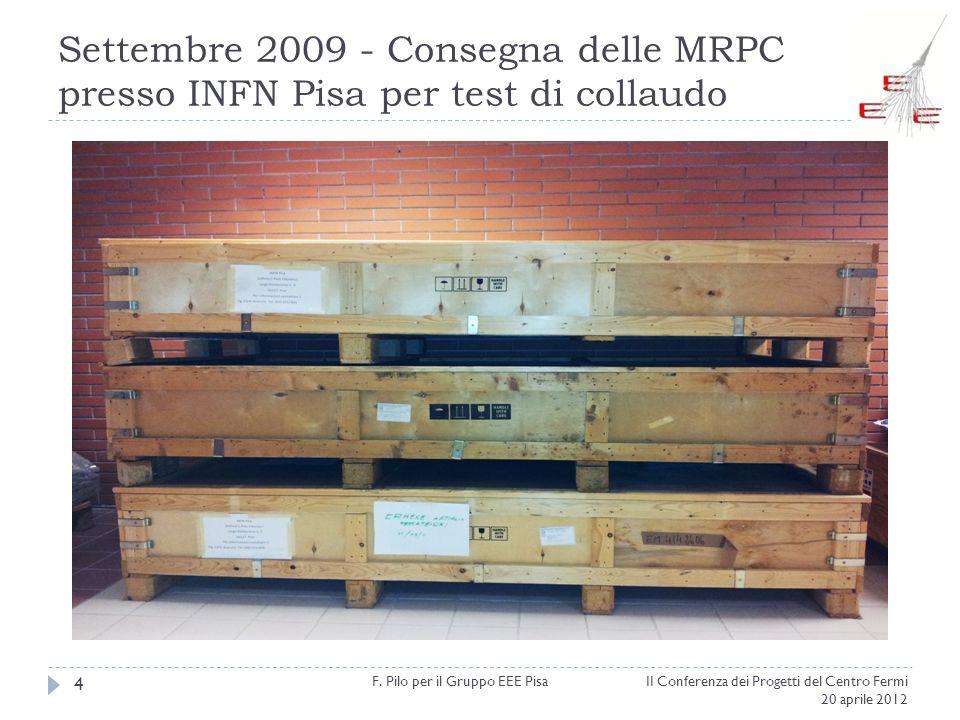 Settembre 2009 - Consegna delle MRPC presso INFN Pisa per test di collaudo II Conferenza dei Progetti del Centro Fermi 20 aprile 2012 F. Pilo per il G
