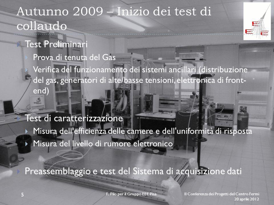 Autunno 2009 – Inizio dei test di collaudo II Conferenza dei Progetti del Centro Fermi 20 aprile 2012 F. Pilo per il Gruppo EEE Pisa 5 Test Preliminar