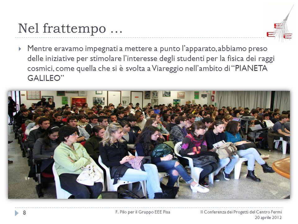 Nel frattempo … II Conferenza dei Progetti del Centro Fermi 20 aprile 2012 F. Pilo per il Gruppo EEE Pisa 8 Mentre eravamo impegnati a mettere a punto