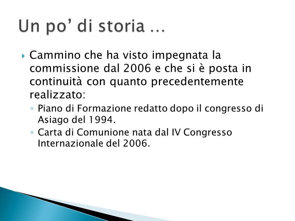 Cammino che ha visto impegnata la commissione dal 2006 e che si è posta in continuità con quanto precedentemente realizzato: Piano di Formazione redatto dopo il congresso di Asiago del 1994.