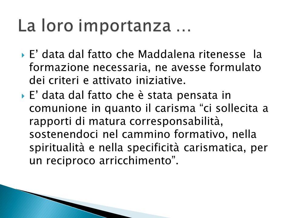 E data dal fatto che Maddalena ritenesse la formazione necessaria, ne avesse formulato dei criteri e attivato iniziative.