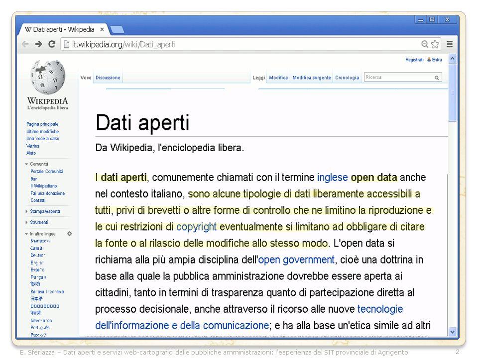 2 E. Sferlazza – Dati aperti e servizi web-cartografici dalle pubbliche amministrazioni: l'esperienza del SIT provinciale di Agrigento