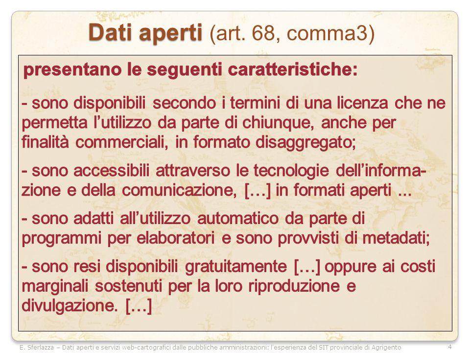 4 E. Sferlazza – Dati aperti e servizi web-cartografici dalle pubbliche amministrazioni: l'esperienza del SIT provinciale di Agrigento Dati aperti Dat