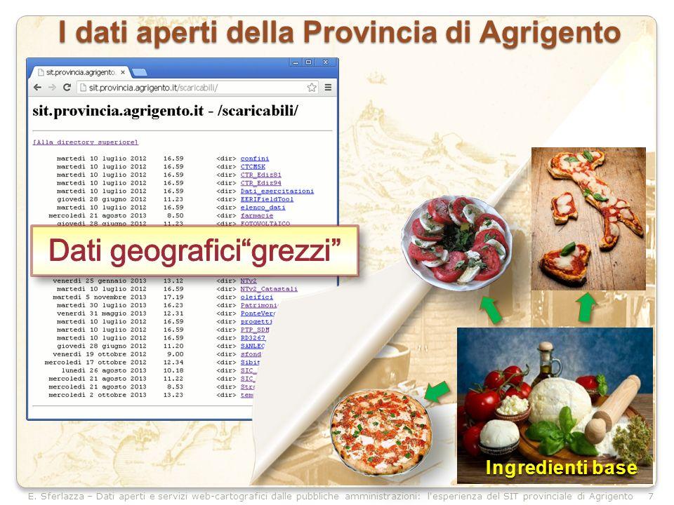 E. Sferlazza – Dati aperti e servizi web-cartografici dalle pubbliche amministrazioni: l'esperienza del SIT provinciale di Agrigento I dati aperti del