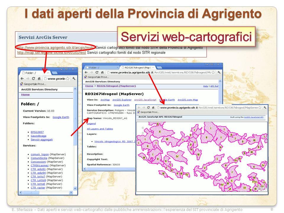 8 E. Sferlazza – Dati aperti e servizi web-cartografici dalle pubbliche amministrazioni: l'esperienza del SIT provinciale di Agrigento I dati aperti d