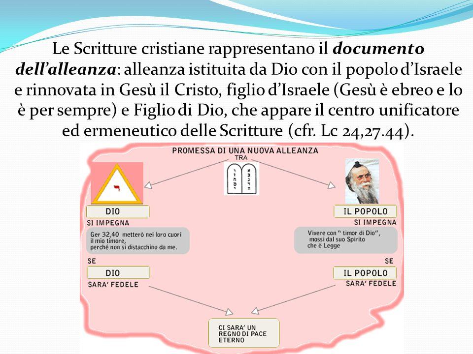 Le Scritture cristiane rappresentano il documento dellalleanza: alleanza istituita da Dio con il popolo dIsraele e rinnovata in Gesù il Cristo, figli