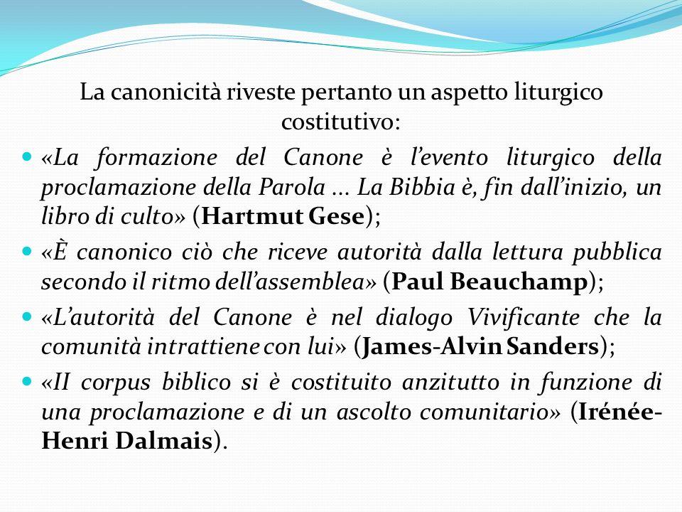 La canonicità riveste pertanto un aspetto liturgico costitutivo: «La formazione del Canone è levento liturgico della proclamazione della Parola... La