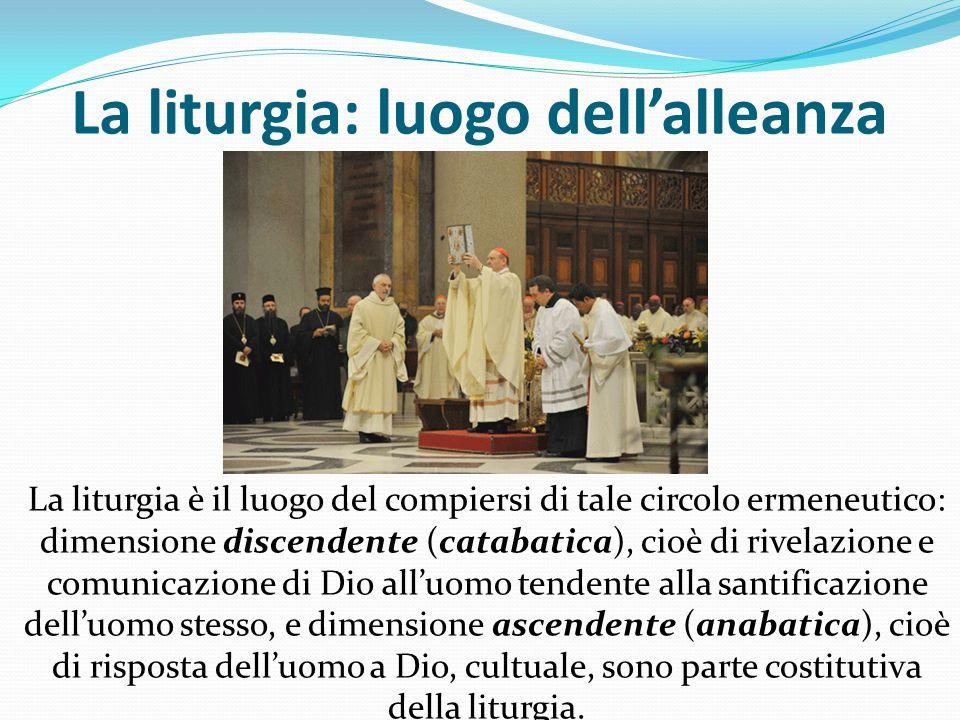 La liturgia: luogo dellalleanza La liturgia è il luogo del compiersi di tale circolo ermeneutico: dimensione discendente (catabatica), cioè di rivelaz