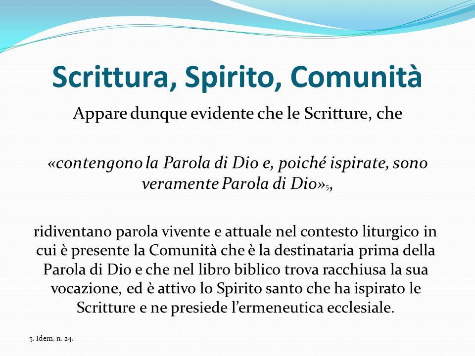 Scrittura, Spirito, Comunità Appare dunque evidente che le Scritture, che «contengono la Parola di Dio e, poiché ispirate, sono veramente Parola di Di