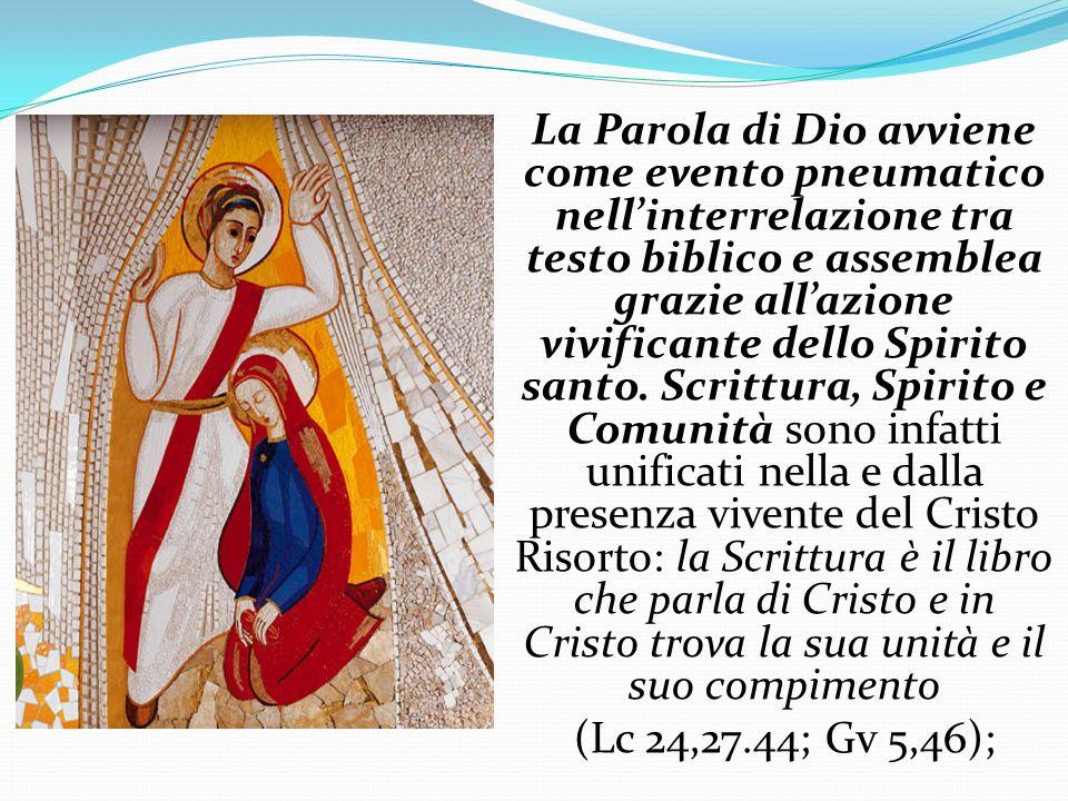 La Parola di Dio avviene come evento pneumatico nellinterrelazione tra testo biblico e assemblea grazie allazione vivificante dello Spirito santo. Scr