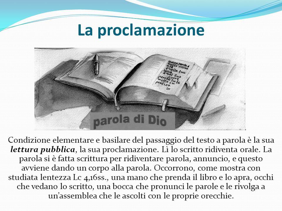 La proclamazione Condizione elementare e basilare del passaggio del testo a parola è la sua lettura pubblica, la sua proclamazione. Lì lo scritto rid