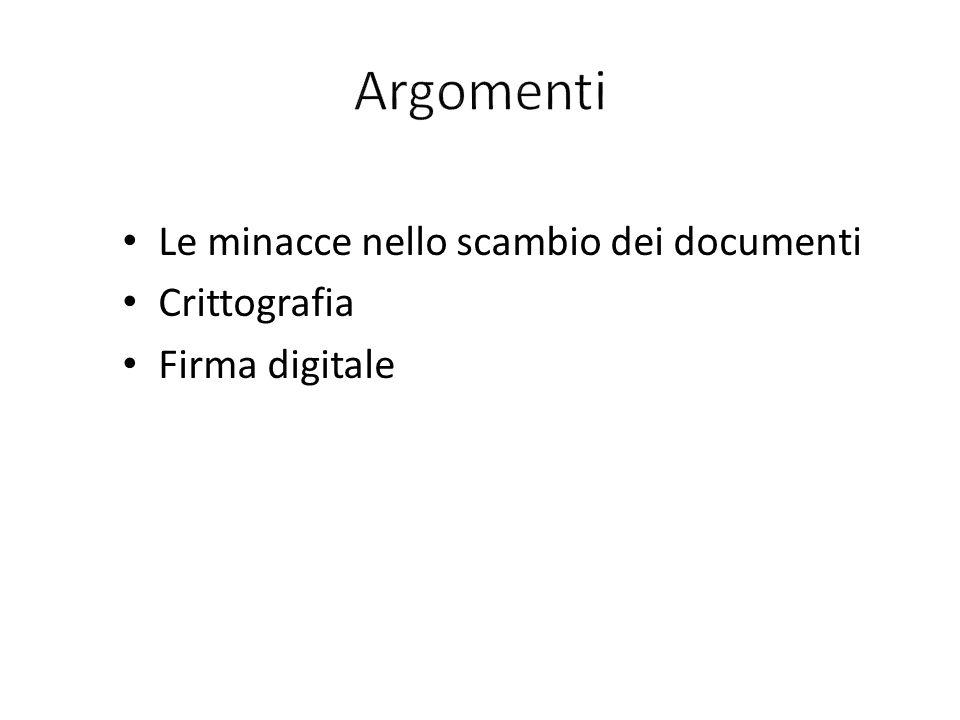 Le minacce nello scambio dei documenti Crittografia Firma digitale