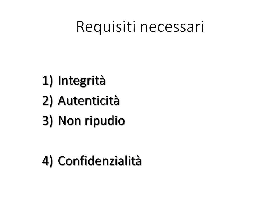 1)Integrità 2)Autenticità 3)Non ripudio 4)Confidenzialità