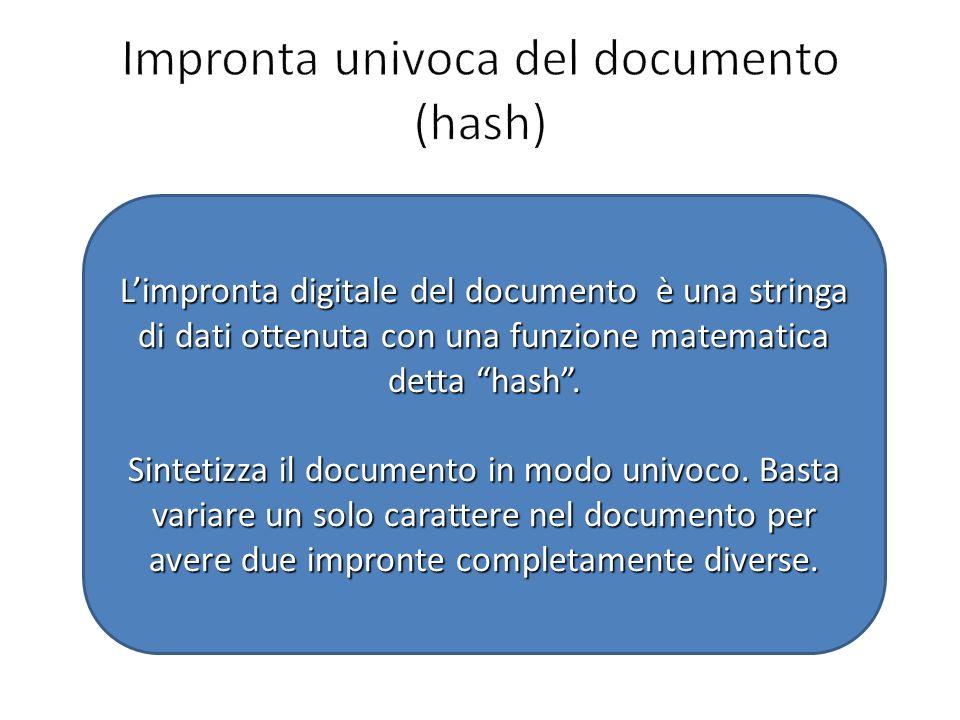 Limpronta digitale del documento è una stringa di dati ottenuta con una funzione matematica detta hash. Sintetizza il documento in modo univoco. Basta