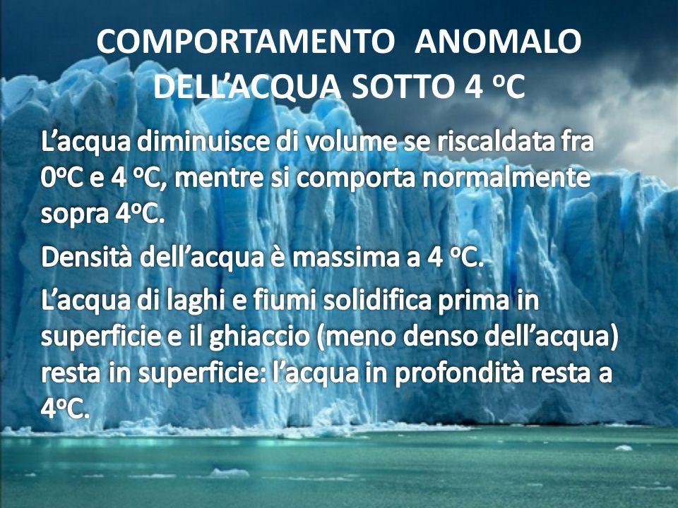 COMPORTAMENTO ANOMALO DELLACQUA SOTTO 4 o C