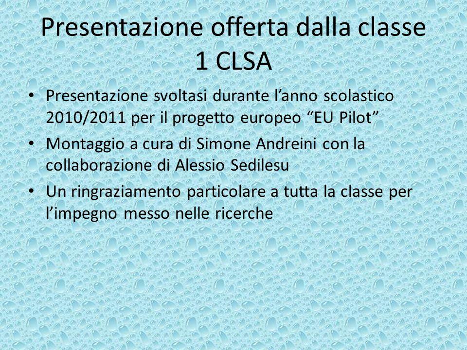 Presentazione offerta dalla classe 1 CLSA Presentazione svoltasi durante lanno scolastico 2010/2011 per il progetto europeo EU Pilot Montaggio a cura