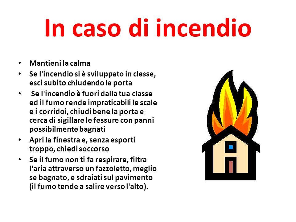 In caso di incendio Mantieni la calma Se l'incendio si è sviluppato in classe, esci subito chiudendo la porta Se l'incendio è fuori dalla tua classe e