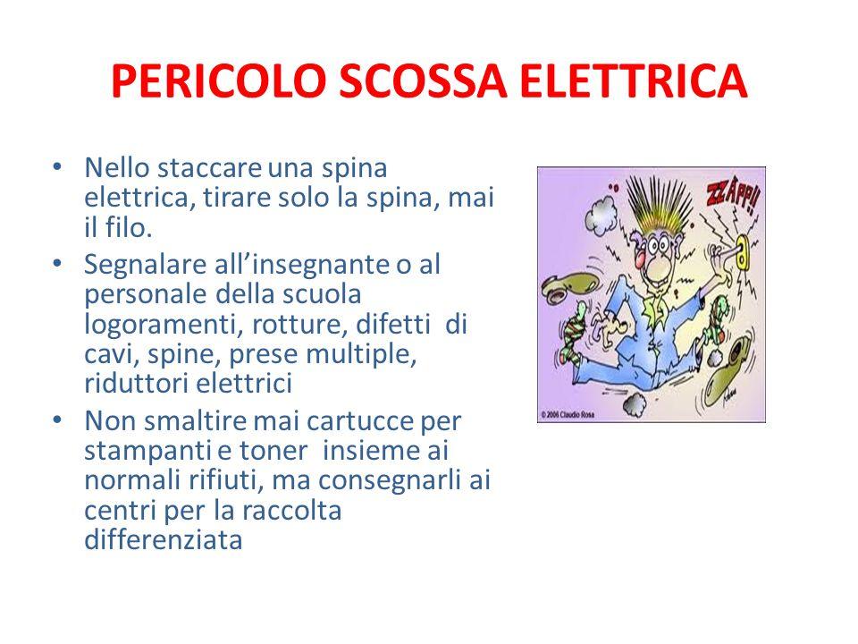 PERICOLO SCOSSA ELETTRICA Nello staccare una spina elettrica, tirare solo la spina, mai il filo. Segnalare allinsegnante o al personale della scuola l