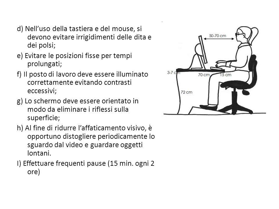 d) Nelluso della tastiera e del mouse, si devono evitare irrigidimenti delle dita e dei polsi; e) Evitare le posizioni fisse per tempi prolungati; f)