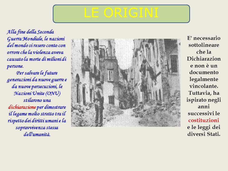 Nel 1946 venne pubblicata la Dichiarazione universale dei diritti umani, il documento più famoso sui diritti dell uomo.