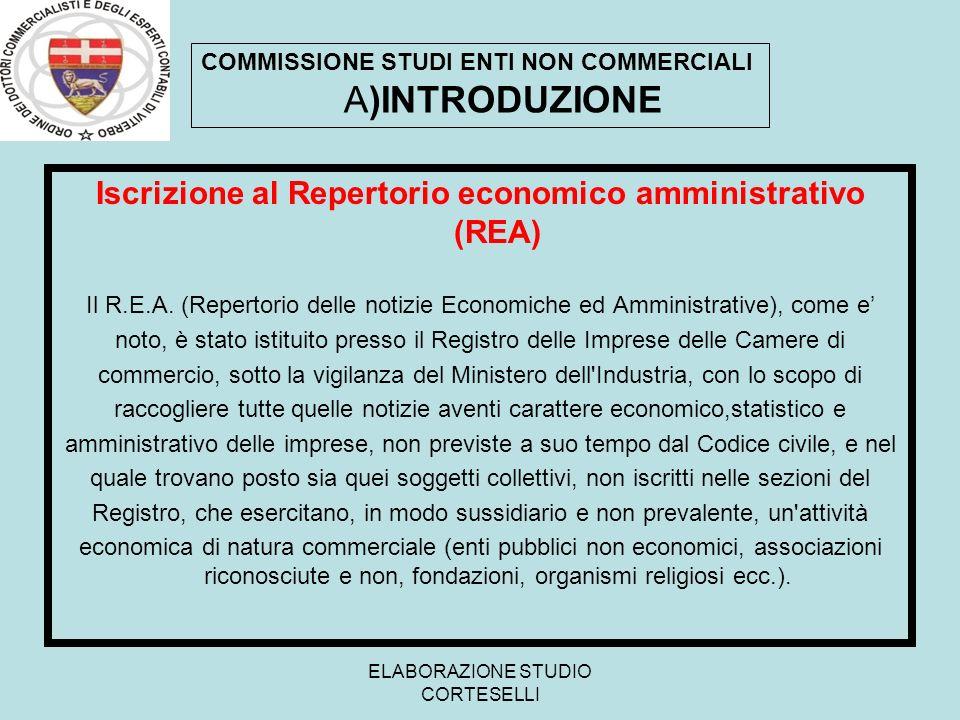 ELABORAZIONE STUDIO CORTESELLI Iscrizione al Repertorio economico amministrativo (REA) Il R.E.A. (Repertorio delle notizie Economiche ed Amministrativ