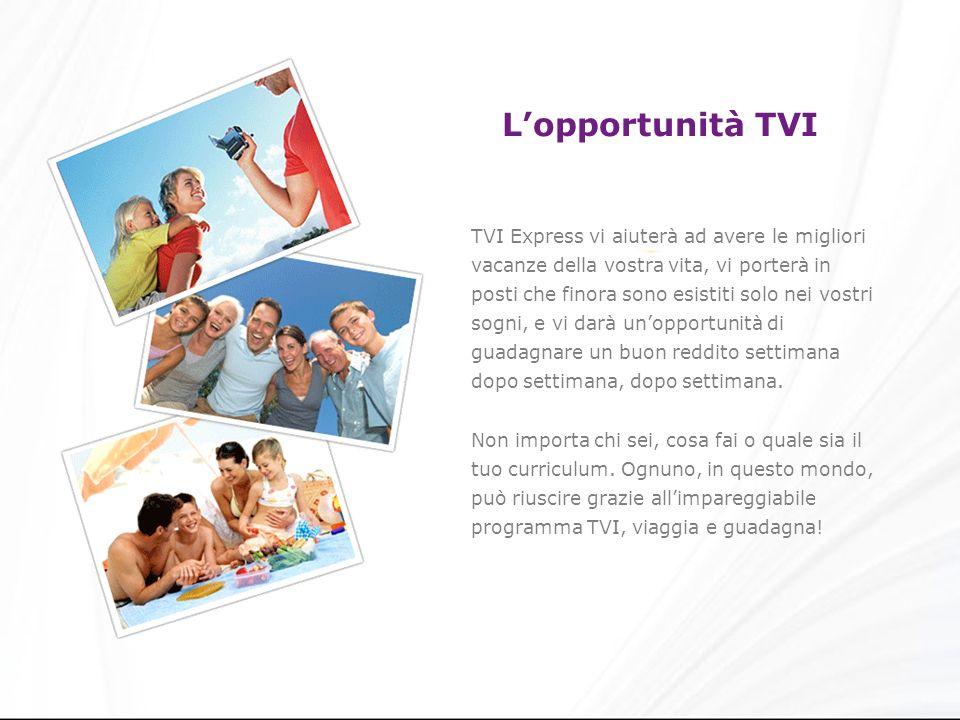 Lopportunità TVI TVI Express vi aiuterà ad avere le migliori vacanze della vostra vita, vi porterà in posti che finora sono esistiti solo nei vostri sogni, e vi darà unopportunità di guadagnare un buon reddito settimana dopo settimana, dopo settimana.