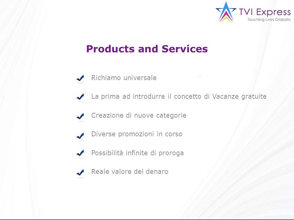 Products and Services Richiamo universale La prima ad introdurre il concetto di Vacanze gratuite Creazione di nuove categorie Diverse promozioni in corso Possibilità infinite di proroga Reale valore del denaro
