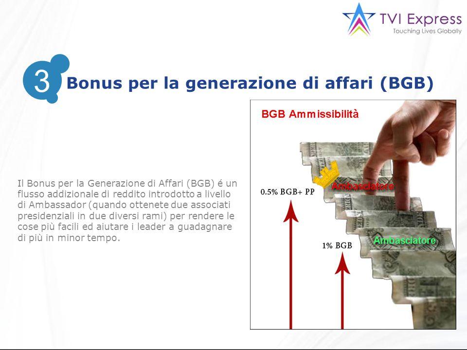 3 Bonus per la generazione di affari (BGB) 3 Il Bonus per la Generazione di Affari (BGB) é un flusso addizionale di reddito introdotto a livello di Ambassador (quando ottenete due associati presidenziali in due diversi rami) per rendere le cose più facili ed aiutare i leader a guadagnare di più in minor tempo.