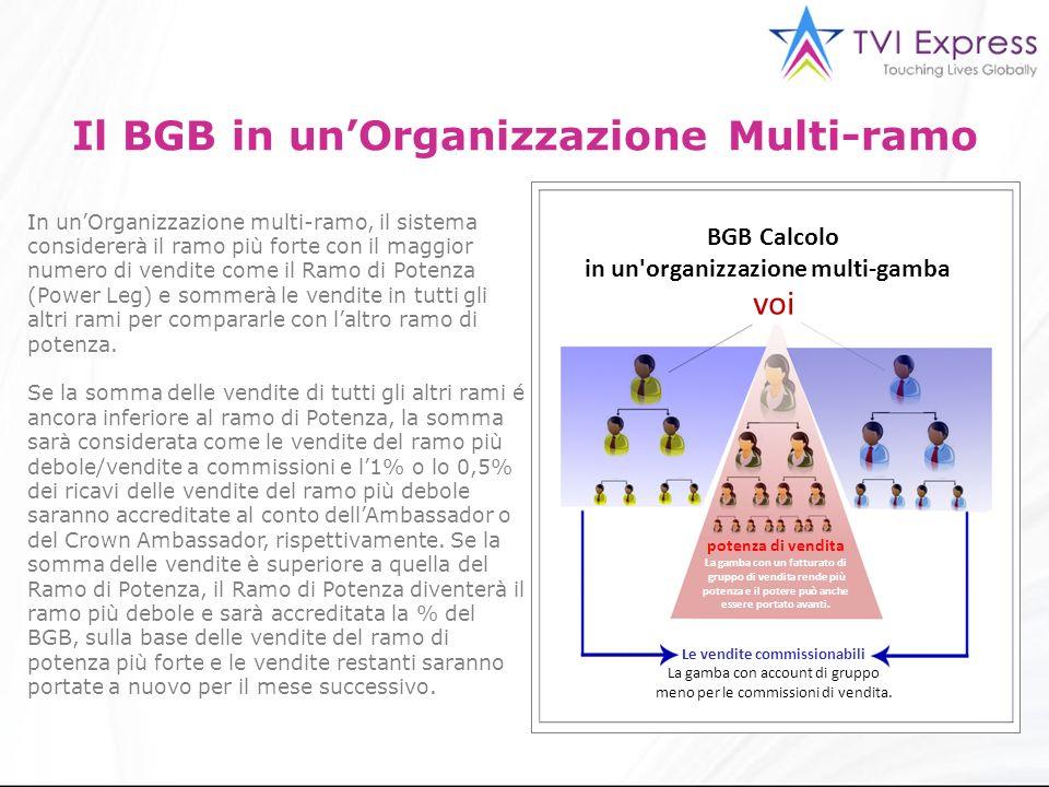 3 Il BGB in unOrganizzazione Multi-ramo In unOrganizzazione multi-ramo, il sistema considererà il ramo più forte con il maggior numero di vendite come il Ramo di Potenza (Power Leg) e sommerà le vendite in tutti gli altri rami per compararle con laltro ramo di potenza.