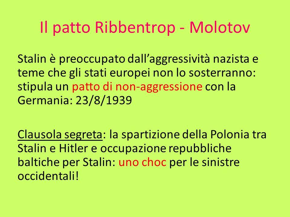 Il patto Ribbentrop - Molotov Stalin è preoccupato dallaggressività nazista e teme che gli stati europei non lo sosterranno: stipula un patto di non-a
