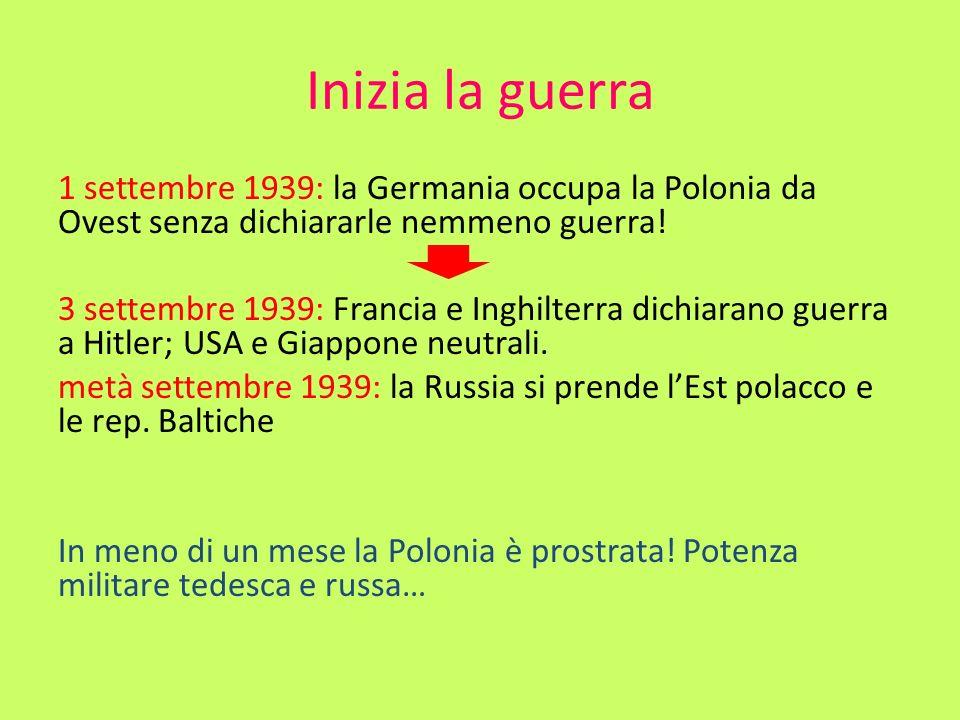 Inizia la guerra 1 settembre 1939: la Germania occupa la Polonia da Ovest senza dichiararle nemmeno guerra! 3 settembre 1939: Francia e Inghilterra di