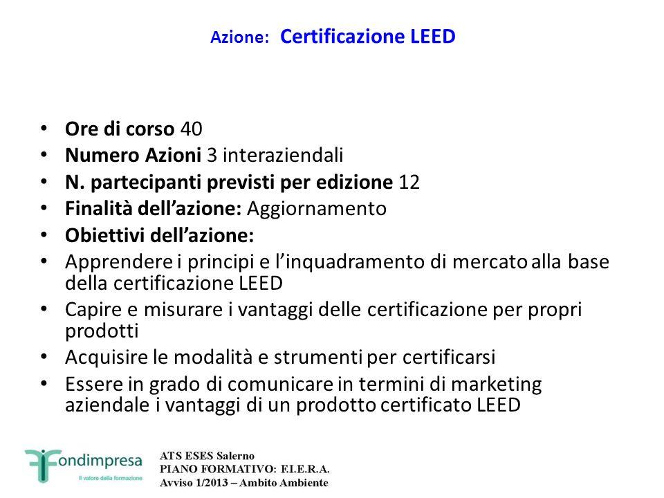 Azione: Certificazione LEED Ore di corso 40 Numero Azioni 3 interaziendali N. partecipanti previsti per edizione 12 Finalità dellazione: Aggiornamento