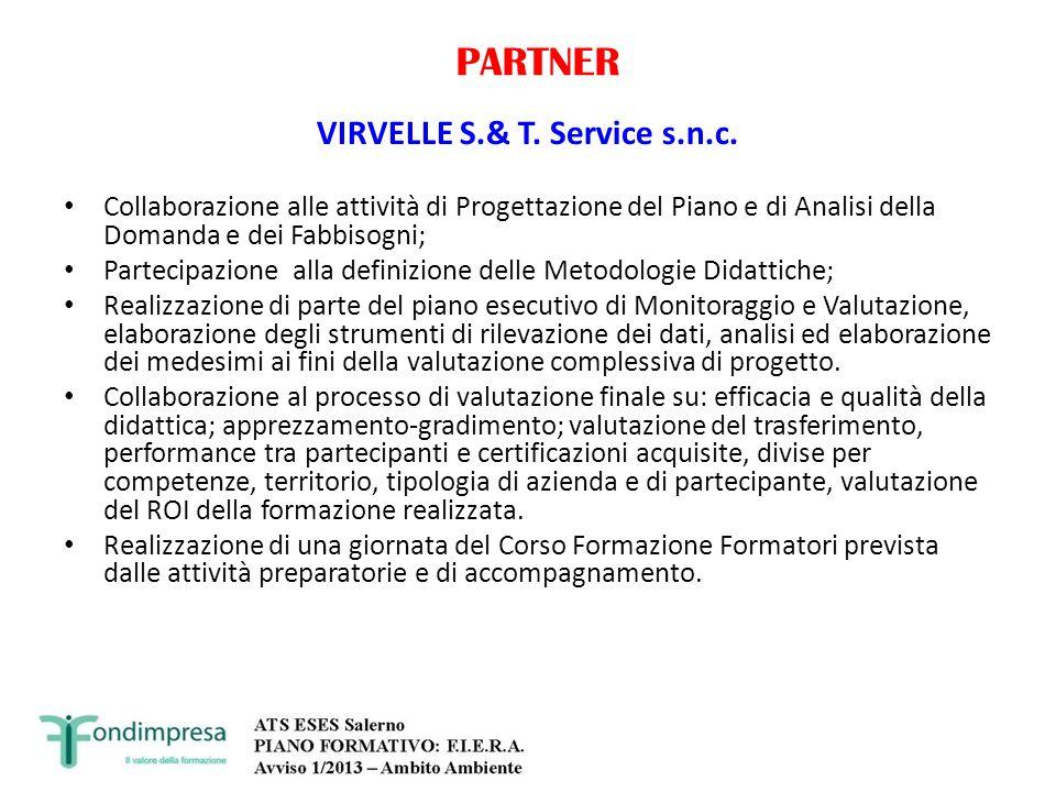PARTNER VIRVELLE S.& T. Service s.n.c. Collaborazione alle attività di Progettazione del Piano e di Analisi della Domanda e dei Fabbisogni; Partecipaz