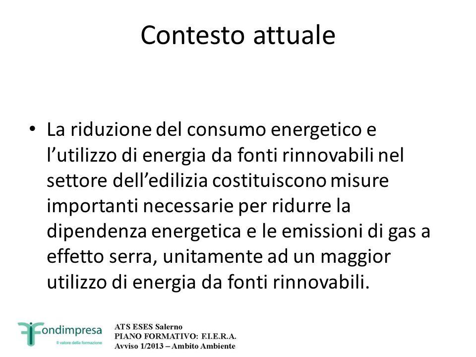 Contesto attuale La riduzione del consumo energetico e lutilizzo di energia da fonti rinnovabili nel settore delledilizia costituiscono misure importa