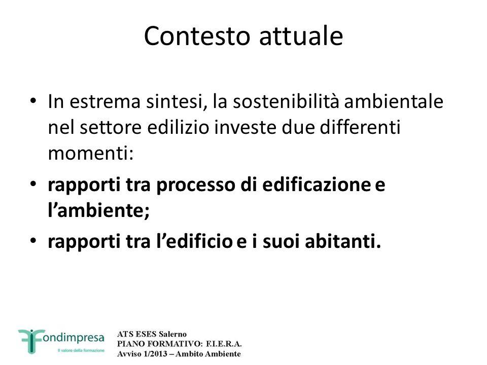 Contesto attuale In estrema sintesi, la sostenibilità ambientale nel settore edilizio investe due differenti momenti: rapporti tra processo di edifica