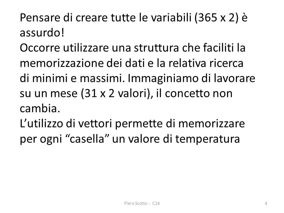 Piero Scotto - C1425 Versione temperature con l introduzione dei vettori Scrivere un programma che memorizzi per il mese di gennaio le temperature (max e min per ogni giorno) e che visualizzi la massima e il giorno in cui e stata registrata.