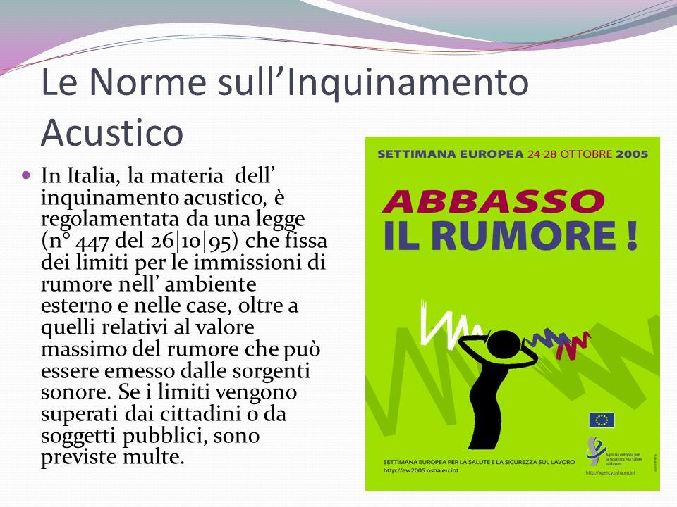 Le Norme sullInquinamento Acustico In Italia, la materia dell inquinamento acustico, è regolamentata da una legge (n° 447 del 26|10|95) che fissa dei