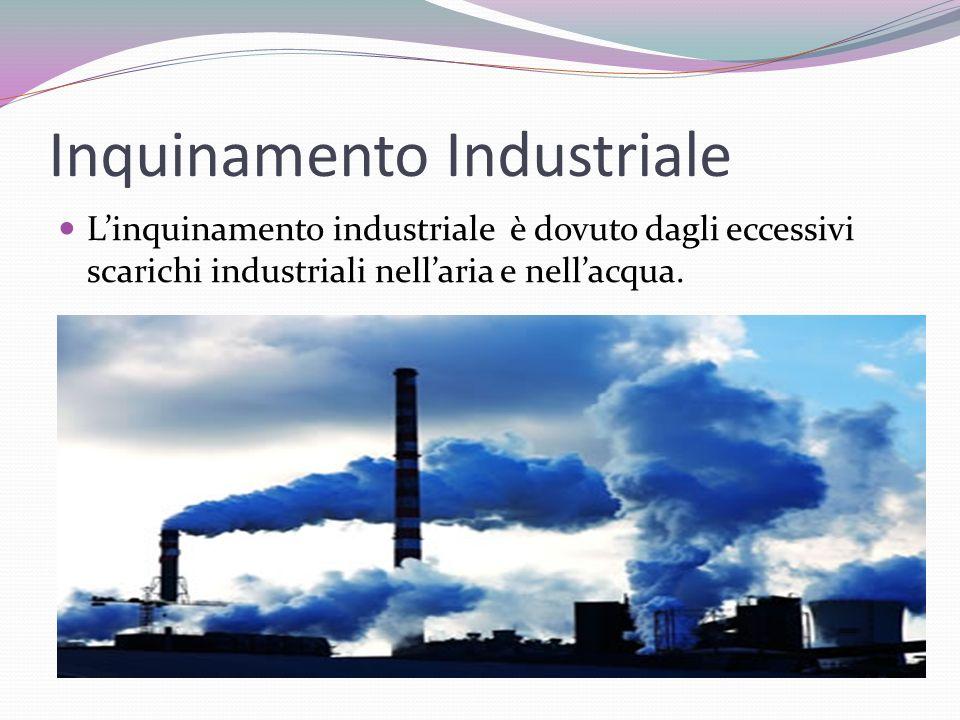 Inquinamento Industriale Linquinamento industriale è dovuto dagli eccessivi scarichi industriali nellaria e nellacqua.