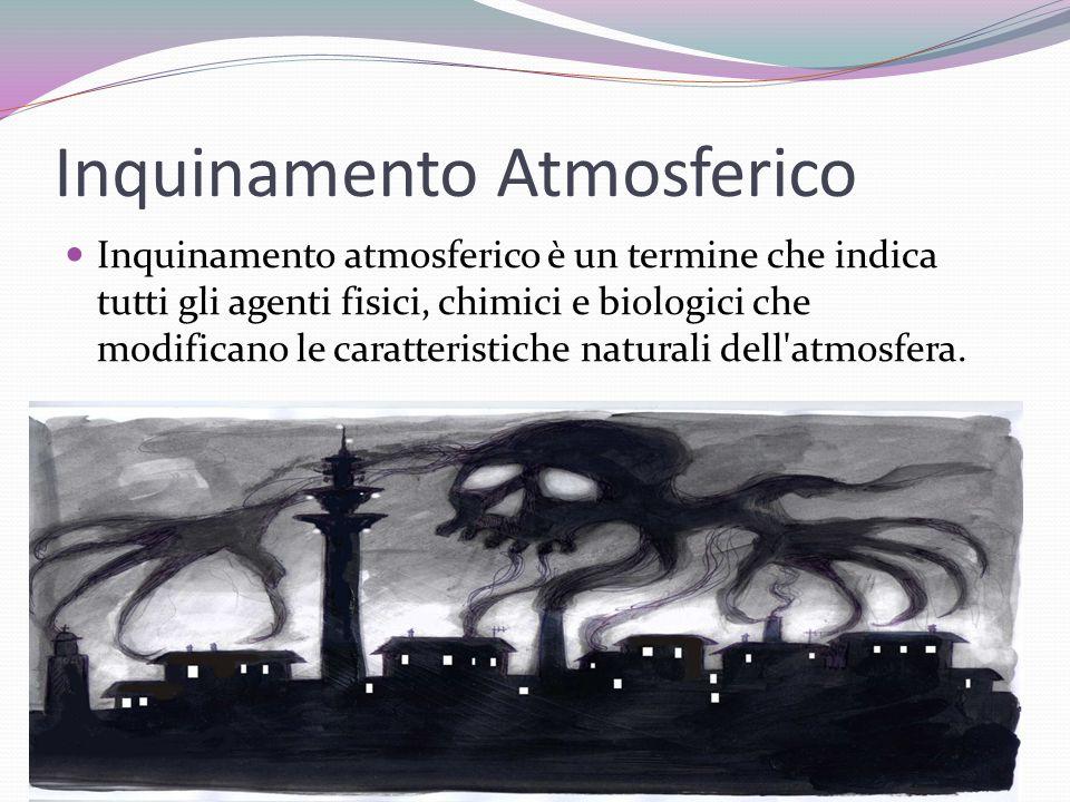 Inquinamento Atmosferico Inquinamento atmosferico è un termine che indica tutti gli agenti fisici, chimici e biologici che modificano le caratteristic