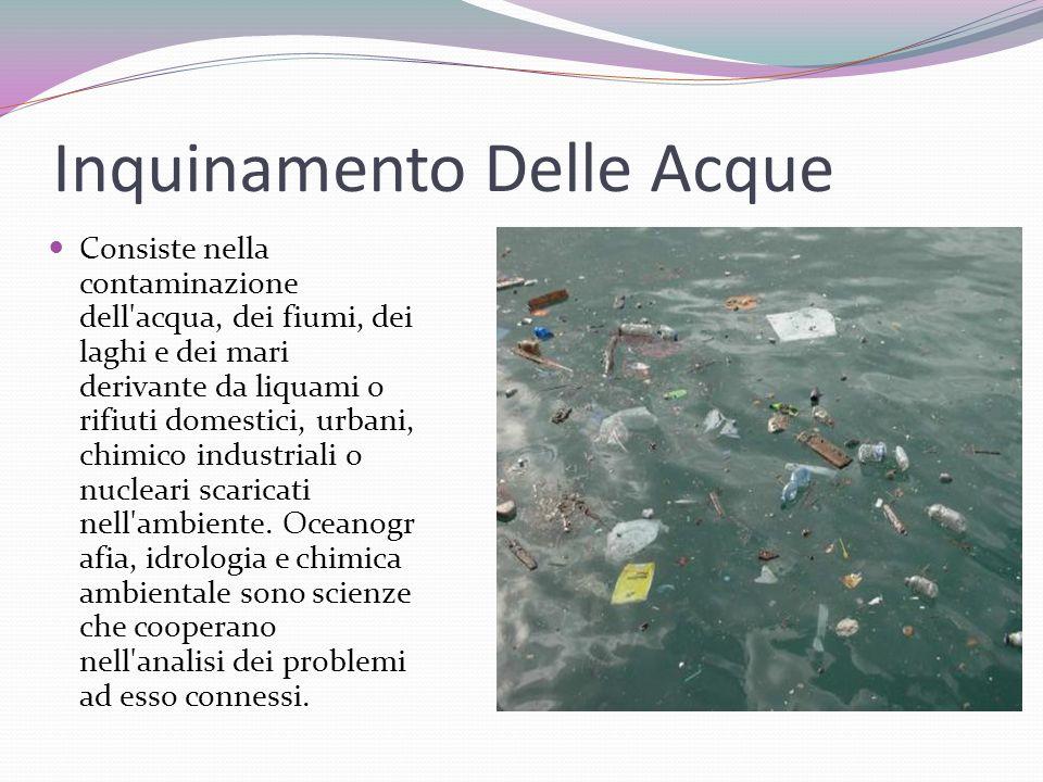 Inquinamento Delle Acque Consiste nella contaminazione dell'acqua, dei fiumi, dei laghi e dei mari derivante da liquami o rifiuti domestici, urbani, c