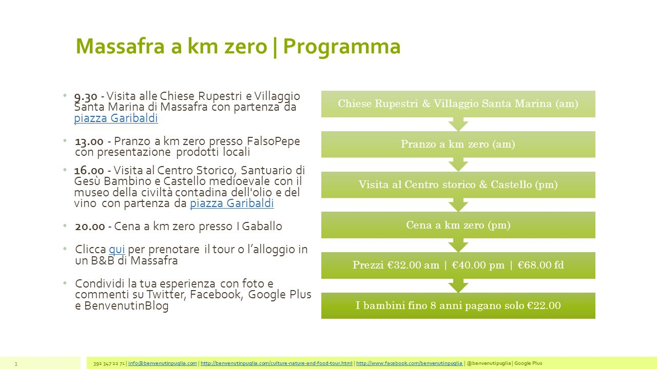 Massafra a km zero   Programma 392 347 22 71   info@benvenutinpuglia.com   http://benvenutinpuglia.com/culture-nature-and-food-tour.html   http://www.