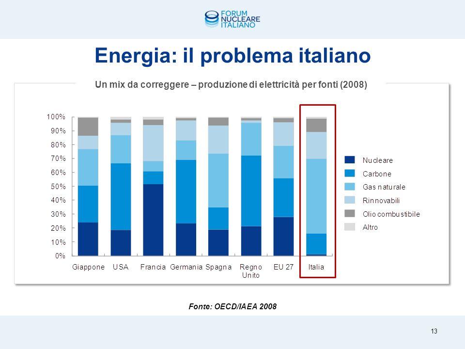 Dati e previsioni Terna su due scenari di sviluppo, con crescita media annua pari a 1,3- 2,3% 339,9 320,3 370-410 Crescita dal 2009 al 2010: 1,8% (326,2TWh) Crescita dal 2009 al 2020: +15,5-28% Domanda di elettricità TWh La domanda di elettricità in Italia 12
