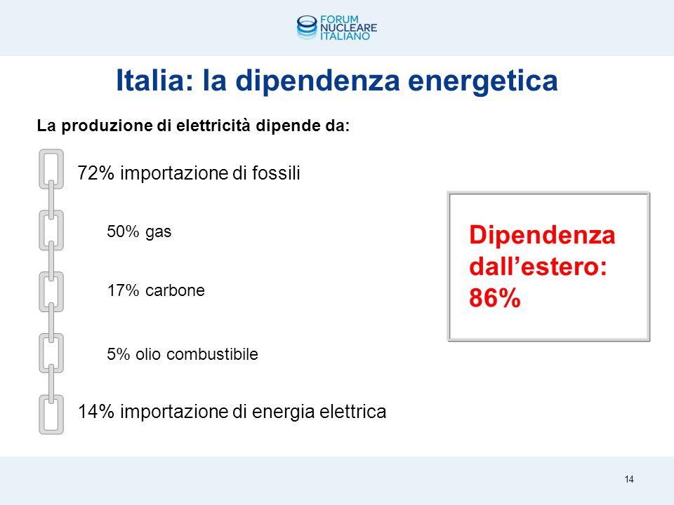 Un mix da correggere – produzione di elettricità per fonti (2008) Energia: il problema italiano Fonte: OECD/IAEA 2008 13